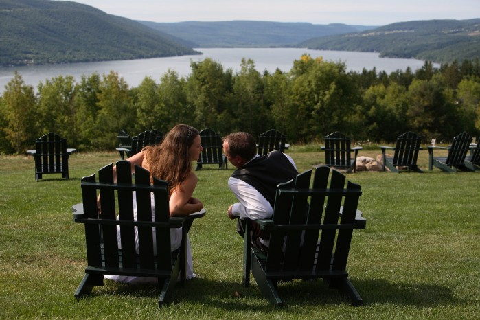 The couple enjoying the view from Bristol Harbour in Canandaigua, NY. Photo by Scott Kingsley.