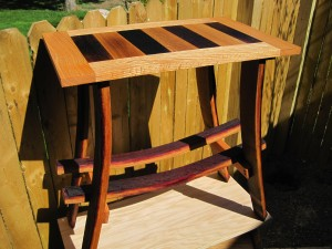 table and wine rack furniture made from finger lakes wine barrels