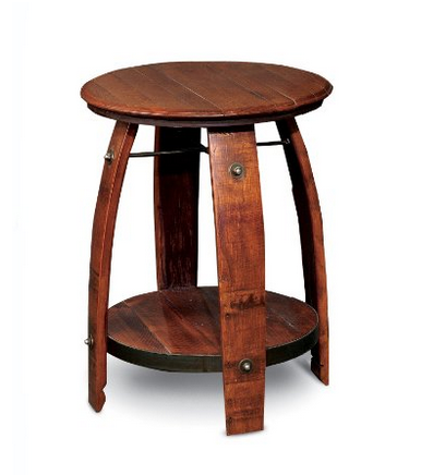Barrel Side Table with Shelf