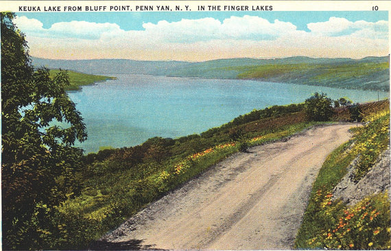 """Keuka Lake From The Bluff"" Vintage Postcard"