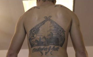Jolin Zimmerman Amish Mafia back tattoo
