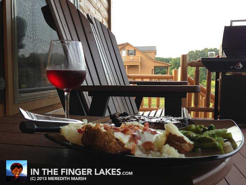 dinner on the deck at Castle Point Paradise [inthefingerlakes.com]