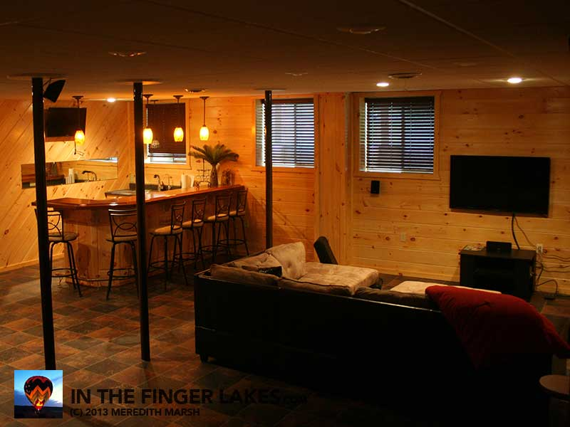 Basement and Bar at Castle Point Paradise [inthefingerlakes.com]
