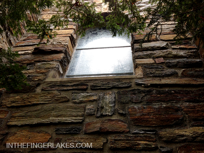Stained Glass and Stone Wall at Garrett Chapel